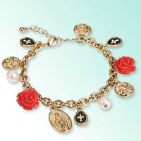 rose and cross charm bracelet