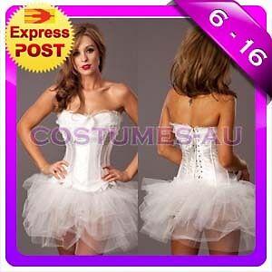 Ladies-White-Angel-Heaven-Fancy-Dress-Costume-Corset-Tutu-Skirt