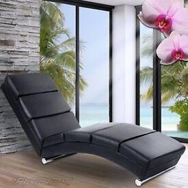 Black Faux Leather Chaise Long
