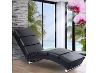 Black Faux Leather Chaise Long