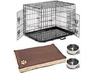 Dog cage crate with waterproof mattress and two bowls - size Xl