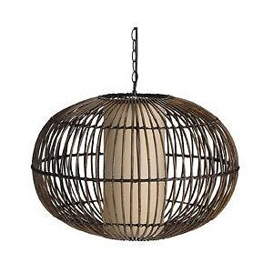 Hanging Rattan swag lamp w/cord & switch