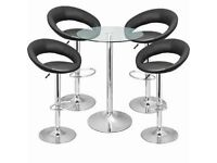 Bar Table and 4 Stools Kitchen Set - Glass Table and 4 faux leather & chrome chair stools kitchen