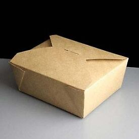 750 Biodegradable Leak-Proof Food Cartons No.8 Brown - 46oz