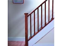 Pine 4.2m length handrail and base rail with newel post , spindles and pyramid post cap