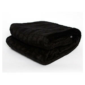 QUALITY BLACK FAUX FUR THROW BLANKET - New