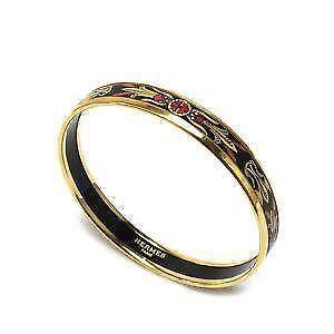 Black Hermes Enamel Bracelet