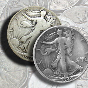 90% Silver Walking Liberty Half-Dollar Coins - $1 Face Value - 90 Percent Silver