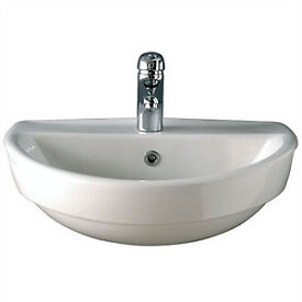 TWYFORD SEMI RECCESSED BASINS sink RE4661WH (550 WIDE) new white