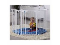 Lindam Playpen White, converts to room divider or stair gate, too. Priced for quick sale.