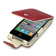 iPhone 4 Leather Flip Case Red