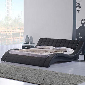 """Rosetta"" King Size Leather Low Lying Bed - Black - Genuine Cowhide Leather plus PVC"
