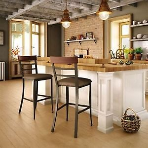 AMISCO* CATE RUSTIC KITCHEN COUNTER STOOLS - BRASS (Set of 2)