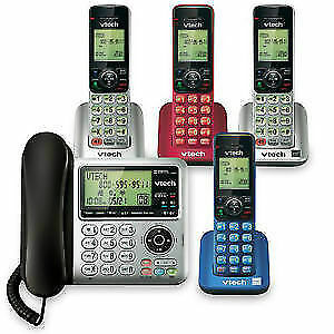 VTech DS6642-4 DECT 6.0 Corded/Cordless Phone System, Cell-Conne