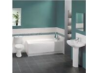 Full bathroom suite including bath, basin, taps and toilet