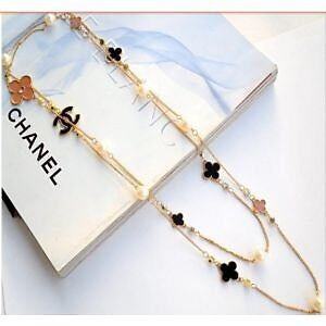 Chanel Inspired Necklace , with the Chanel logo and Clover Leaf