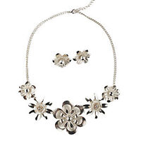 BRUSHED BLOOMS NECKLACE & EARRING SET