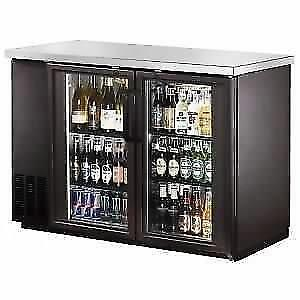 "Back Bar Cooler, Glass Door,48"" with Stainless Steel Top and LED"