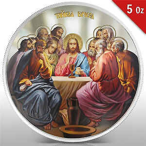 Niue 2012 $10 Orthodox Shrines-The Last Supper 5 Oz Silver Proof