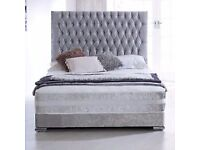 """Crushed Velvet Double bed with 54 """" high headboard, Mattress & base £299 New double divan set"""