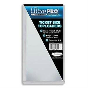 "Ultra Pro .... ""TICKET SIZE"" .... TOP LOADERS"
