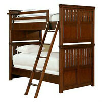 SINGLE SIZE BUNK BEDS DARK WOOD