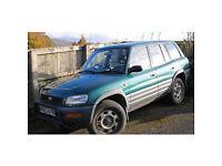 Rav4 petrol, 5 door, good runner. No MOT. Needs brake pipes and 3 tyres. Full time 4x4.