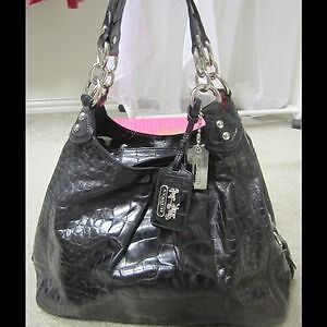 Coach Maggie Black Croc Embossed Leather Bag London Ontario image 1