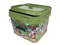 5 Litre NGT square Camo Bucket with Metal Handle.