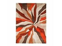 Orange, Brown and Cream Starburst Rug