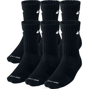 NEW Nike Dri Fit Dry Fit Cotton Black CREW Socks 6 Pair Sz 8 -12 L SX4445-001