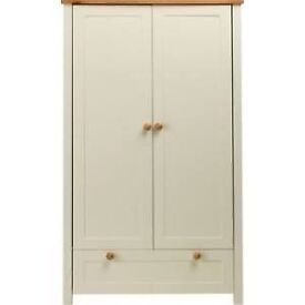 Classic Two-Tone Cot + Wardrobe - Pine.NEW BOXED