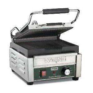 Waring WPG150C 9 3/4 x 9 1/4 Grooved Top and Bottom Panini *RESTAURANT EQUIPMENT PARTS SMALLWARES HOODS AND MORE*