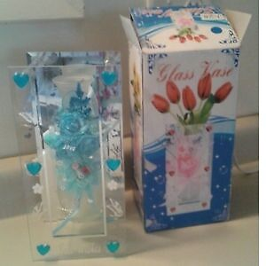 Mirrored Glass Vase with Blue Flowers