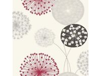 Lucienne Floral Grey & Red Wallpaper roll (free)