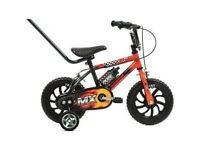 "Raleigh Sunbeam MX12 12'' Wheel 9"" Frame Boys' Bike with Parent Handle"