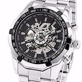 Men's Black Bezel Skeleton Dial Stainless Steel Self-Wind Up Mechanical watch BRAN NEW