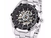 Men's Black Bezel Skeleton Dial Stainless Steel Self-Wind Up Mechanical watch BRAN NEW