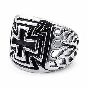 Flames Accent, Iron cross mens ring, size 12