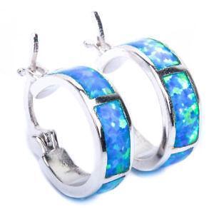 Blue Fire Opal Earrings