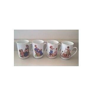 Norman Rockwell Museum Porcelain Coffee Tea Mugs Cups 1982