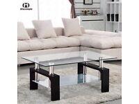 Rectangular Glass Coffee Table, Chrome Black