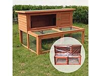 Rabbit hutch with attached run.