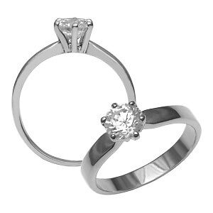 LADIES RHODIUM PLATED STERLING SILVER SOLITAIRE RING SIZE US7new