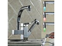 BRAND NEW BOXED Pull Out Chrome LED Stream Kitchen Bath Sink Basin