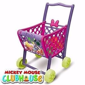 Girls Pink Minnie mouse shopping trolley pretend role play