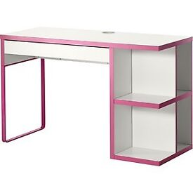 Ikea Micke pink desk with integrated storage
