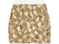 Robert Rodriguez Gold Skirt Sequin & Bead Silk Skirt RRP £165