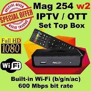 MAG254 W2 BUILT IN WIFI +1 YEAR IPTV SUBSCRIPTION NOW ONLY $199