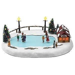 christmas skating pond ebay - Christmas Village Ice Skating Rink